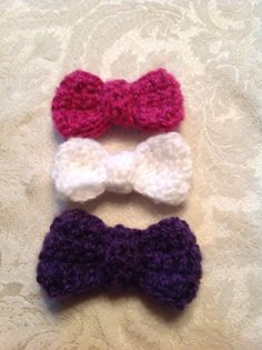 Crotcheted Set of 3 Hair Bows or Clips by KitchenerCreations, $10.00
