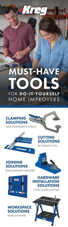 Must-Have Tools for Do-It-Yourself Home Improvers | Kreg has all the tools, hardware, and accessories you need to create quality wood projects, whether that's building your own furniture or making last repairs around the home. #kregjig #kregjigproject #buildsomethingwithkreg #tools #homeowner #diyproject #diyfurniture #woodworking