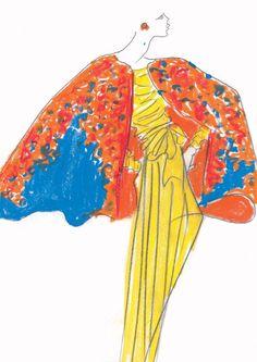 1989 - Yves Saint Laurent Couture 'Bougainvilliers' cape sketch
