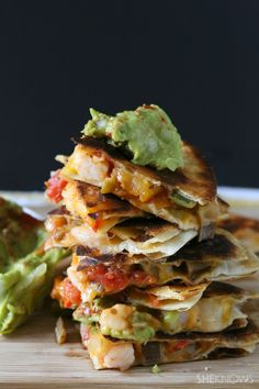 Spicy Shrimp Quesadillas with Chipotle-Avocado Sauce