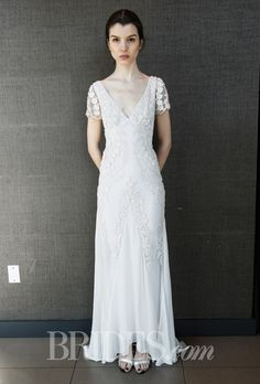 Temperley Bridal - Spring 2015. Lace and chiffon sheath wedding dress with a v-neckline and short sleeves, Temperley Bridal
