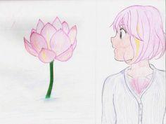 Lotus Flower. Flor de loto. Anime. Girl. Chica. Dibujo. Drawing. Art. Ilustration. Ilustracion. Arte. Color.