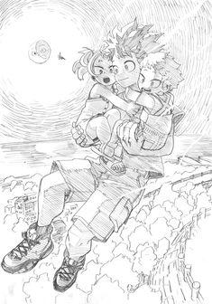 Deku with Mahoro and Katsuma. Someone has to stop Bakugou! My Hero Academia Episodes, My Hero Academia Memes, Hero Academia Characters, My Hero Academia Manga, Boku No Hero Academia, Sketch Manga, Manga Art, Drawing Sketches, Manga Anime