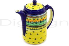 Polish Pottery Stoneware TEA COFFEE POT. I don't like yellow but I love the shape.
