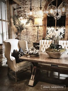 Urban Farmhouse, Farmhouse Design, Farmhouse Chic, Farmhouse Table,  Warehouse Living, Lofts, Dining Rooms, This Weekend, Industrial