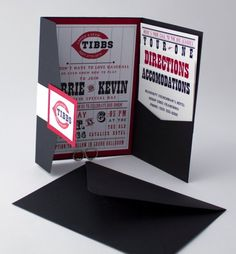 Cincinnati Baseball Fans - here's a Wedding Invitation Just for you! By Bellus Designs on Etsy.