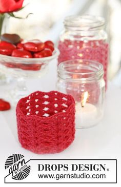 "DROPS Valentine: Crochet DROPS cover for lantern in ""Cotton Merino"". ~ DROPS Design"