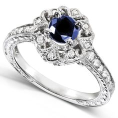 Annello 14k White Gold Round-cut Blue Sapphire and Diamond Vintage Ring (G-H, I1-I2)   Overstock.com Shopping - The Best Deals on Engagement...