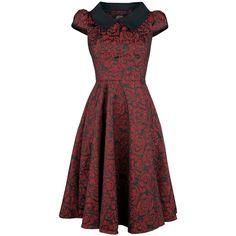 """H&R London Mittellanges Kleid, Frauen """"Regina Brocade Party Dress"""" schwarz/rot • online bestellen • EMP"""