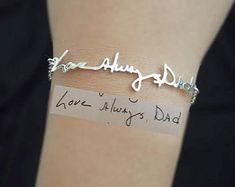 "SALE- Signature Bracelet- Handwriting/Keepsake Bracelet/Bridesmaid Gift/Valentines Gift I'd love to have my kid's handwriting ""I love you"""