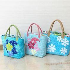 お教室で仲良し三人娘さん達のサマーバッグが並びました。 #ハワイアンキルト #hawaiianquilt