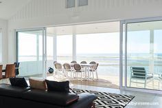 The Resene Black White palette means that the stunning sea view can be the hero. Photo courtesy of Marley. http://www.habitatbyresene.co.nz/colin-and-wendy-find-purity-white