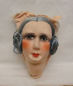 ANTIQUE-VINTAGE-FRENCH-CLOTH-BOUDOIR-BED-DOLL-MASK-FACE-ONLY-VGC-OLD-STORE-STOCK
