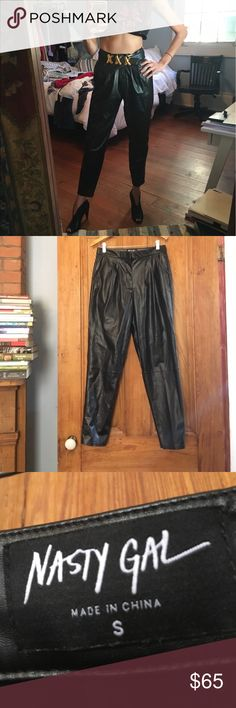 Flash sale! Nasty gal faux leather pants Nasty gal faux leather pants. Waist measures about 14.5 across. These are labeled a small but they are high rise and I would say the fit about a 28 Jean. However, I am a 26 and I have them belted and they look super cute!. Last picture is where they sit unbelted on my waist. First pic is when I made them higher and belted Nasty Gal Pants