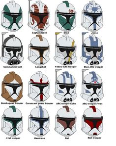 Anakin Skywalker Discover Clone trooper helmets 2 by vaderboy on DeviantArt This is the newestlist of clone trooper helmets. Ill make a Revenge of the sith version soon and later Ill make helmets from the Clone Wars season I hope youll like this one too. Casque Clone Trooper, Clone Trooper Helmet, Star Wars Helmet, Clone Trooper Costume, Star Wars Trivia, Star Wars Facts, Star Wars Clone Wars, Star Wars Rpg, Star Wars Pictures