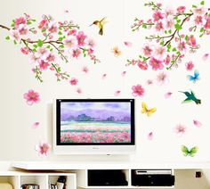 Fange DIY Removable Plum blossom Flower Butterflies Hummingbirds Art Mural Vinyl Decal Sticker Wallpaper 4 Easy to Apply. Just Peel Off and Stick with the free 'Fange Logo' Scratch Card.   size:47.2''x43.3''. Top Quality Material Vinyl $7.93