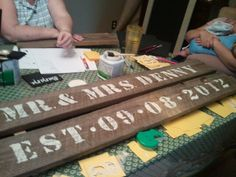 Est. Sign for my sisters wedding out of old fence boards from our fence