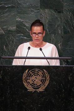 La princesse Stéphanie de Monaco était au siège de l'ONU à New York, mercredi 8 juin 2016, pour une réunion de Haut Niveau dans la lutte contre le sid...
