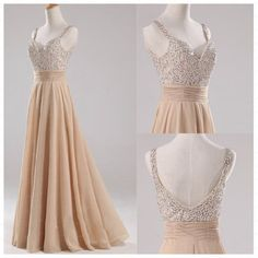 Champagne Straps Beads Backless Dress Bridesmaid by CharmBridal, $149.00