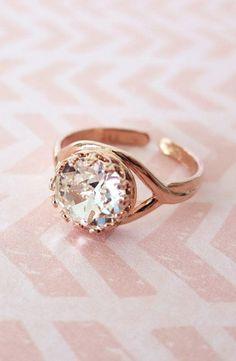 Rose Gold Swarovski Crystal Ring Clear Round