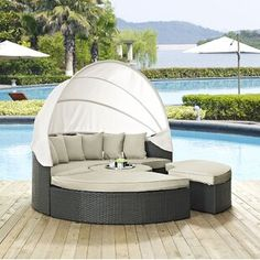 Bayou Breeze Olu Patio Daybed with Cushions | Wayfair Daybed Canopy, Daybed Sets, Patio Daybed, Sofa Daybed, Patio Seating, Outdoor Daybed, Outdoor Furniture, Outdoor Sectional, Outdoor Decor