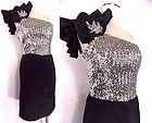 VINTAGE 80s Holiday Dress Sz S FANCY FROCKS Sequin Ruffle Christmas Avant Garde on eBay for $149.99
