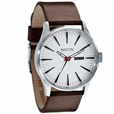 Nixon Sentry Leather Watch - Men's White, One Size NIXON. $124.95