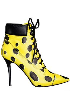 Moschino Yellow & Black Lace-Up Booties Fall-Winter 2014 #Boots #Moschino #Shoes #Heels