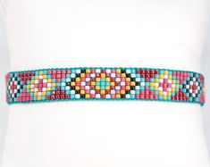 Shaman Cuff in miyuki delica beads multicolor Bracelet Loom Bracelet Patterns, Bead Loom Patterns, Jewelry Patterns, Beading Patterns, Beaded Braclets, Bead Loom Bracelets, Woven Bracelets, Loom Bands, Seed Bead Jewelry