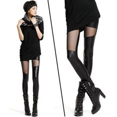 Sexy PUNK Style Gauze Mesh Splicing Girls Ladies Leggings