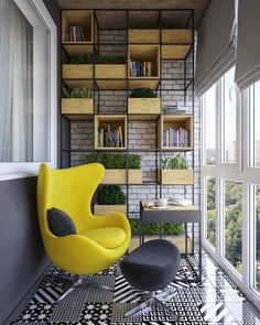 Outside on the terrace with an open view, you'll find shelving and a bright yellow chair along with bold tire work - all set against exposed brick. Exposed brick in this space as a whole has always been used as an accent, tying together all of the design elements while remaining playful with texture.