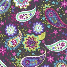 paisley purple grey dark bright pattern michael miller cotton