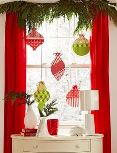 Think big and bright when making these bold ornaments. Red and green scrapbooking paper in fun patterns adorns shapes cut from poster board....