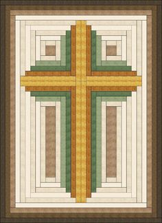 (7) Name: 'Quilting : Log Cabin Christian Cross-multiple sizes