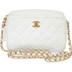 CHANEL VINTAGE Vintage Small Quilted Leather Shoulder Bag (€2.175) ❤ liked on Polyvore featuring bags, handbags, shoulder bags, bolsas, purses, chanel, white, quilted chain shoulder bag, chanel purse and white purse