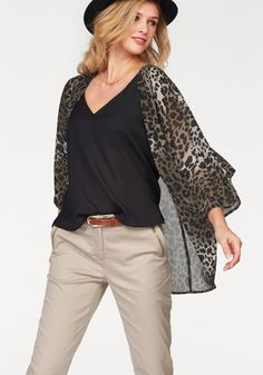 Tamaris Blusenjacke, offen, Animalprint »Kimonoform« im Ackermann Online Shop #Fashion #Mode Georgette Fabric, Batwing Sleeve, Bell Sleeve Top, Cover Up, Sweaters, Cardigans, Stylish, Casual, Sleeves