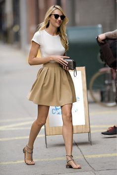 white t-shirt x camel a-line skirt