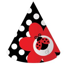 LadyBug Fancy Cone Hats (8) .  Everyone needs a fancy cone hat to wear at the party! These are sure to be a hit at your ladybug party theme.  set of 8 hats with elastic chin straps