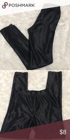 High waisted disco pants. Satin look to them. High waisted. Skinny. Button closure. They are a size 34. Like an extra small denim clubs Pants Skinny