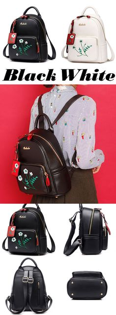 Fresh Flowers Embroidery PU Girl's College Student Backpack for big sale! #student #backpack #flowers #college #fresh