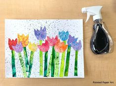 Tulips and Sprinkles – Painted Paper Art Tulipes and Sprinkles – Art de papier peint Flower Crafts, Flower Art, Arte Elemental, Paper Art, Paper Crafts, Kindergarten Art Projects, Painted Paper, Art Classroom, Spring Crafts