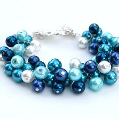 blue and white pearl clusters charm bracelet - Google Search