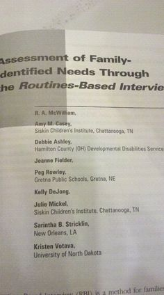 So honored to be included in an article with Dr. McWilliam!  My good friend and colleague Peg Rowley was also included!