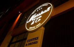 MARSHALL&CO Coffee&Drinks  #interiorismo #diseñodeinteriores #branding  #logo #corporeo #iluminacion