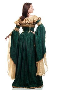 Italian renaissance courtesan dress by DressArtMystery on Etsy Renaissance Fair Costume, Renaissance Wedding, Medieval Costume, Renaissance Fashion, Renaissance Clothing, Medieval Dress, Historical Clothing, Italian Renaissance Dress, Renaissance Gown