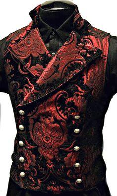 Shrine Gothic Vampire Cavalier Vest Jacket Victorian Tapestry Goth Steampunk for sale online Style Steampunk, Steampunk Clothing, Steampunk Fashion, Gothic Fashion, Victorian Fashion, Gothic Steampunk, Steampunk Vest, Gothic Men, Gothic Beauty