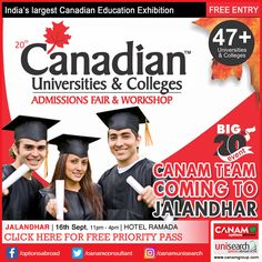Golden opportunity for the youth of Jalandhar to know in detail about the education opportunities in Canada. The expert team of #CanamConsultants to be there in Jalandhar tomorrow bringing their exclusive Canada Education Fair & Workshop. Register to make your #CanadaEducation dream come true! Register Today For Free Priority Pass. http://www.canadaedufair.com/register.php