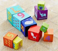 Animals and Numbers Stacking Cubes | Pottery Barn Kids