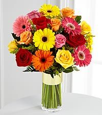 Gerbera Daisy And Roses Bouquet at Send Flowers. Mixed gebera daisies bouquet with hot pink, yellow and orange gerbera daisies and red roses in glass vase. Yellow Daisies, Gerber Daisies, Pink Daisy, Orange Roses, Gerbera Daisy Bouquet, Rose Bouquet, Daisies Bouquet, Boquet, Congratulations Flowers
