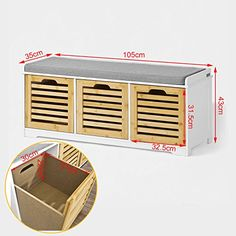 SoBuy FSR23-WN Banc de Rangement avec coussin et 3 cubes, Meuble d'Entrée Commode à Chaussure Banquette confortable